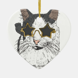 Cat Wearing Star Glasses Ceramic Heart Decoration