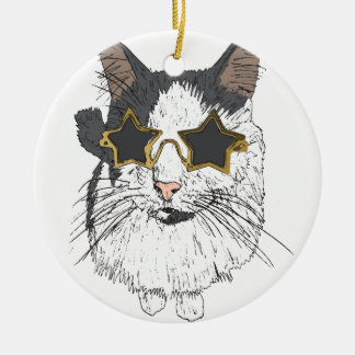 Cat Wearing Star Glasses Ceramic Ornament