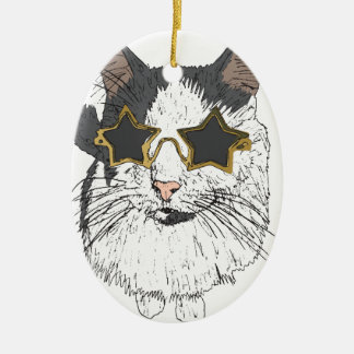 Cat Wearing Star Glasses Ceramic Oval Decoration