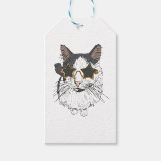 Cat Wearing Star Glasses Gift Tags