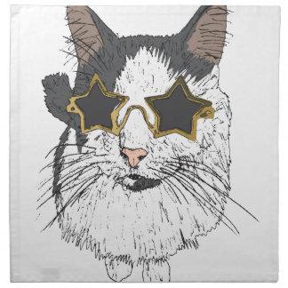 Cat Wearing Star Glasses Napkin