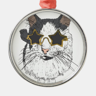 Cat Wearing Star Glasses Silver-Colored Round Decoration