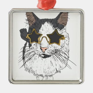 Cat Wearing Star Glasses Silver-Colored Square Decoration