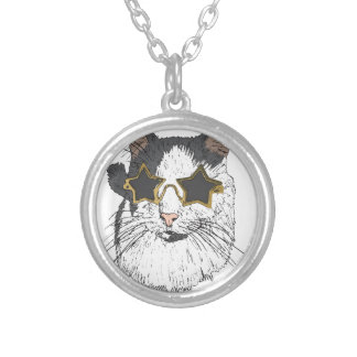 Cat Wearing Star Glasses Silver Plated Necklace