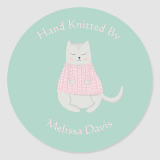 Cat Wearing Sweater Personalised Knitted by Classic Round Sticker
