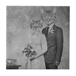 Cat wedding small square tile
