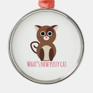 cat_whats new pussy cat Silver-Colored round decoration