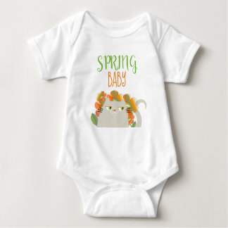 Cat White Cute Floral Spring Baby Cartoon Chic Baby Bodysuit