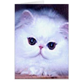 Cat White Persian Kitten Kitty Note Card