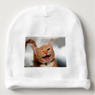 Cat winking - orange cat - funny cats - cat smile baby beanie
