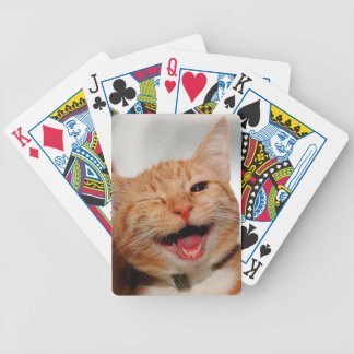 Cat winking - orange cat - funny cats - cat smile bicycle playing cards