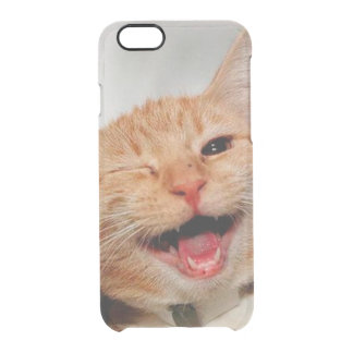 Cat winking - orange cat - funny cats - cat smile clear iPhone 6/6S case