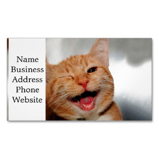 Cat winking - orange cat - funny cats - cat smile 	Magnetic business card