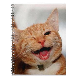 Cat winking - orange cat - funny cats - cat smile notebook