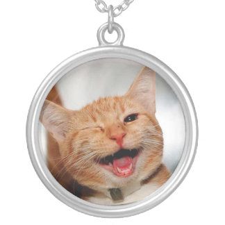 Cat winking - orange cat - funny cats - cat smile silver plated necklace