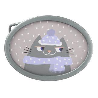 Cat Winter Snow Cartoon Cute Stylish Adorable Chic Belt Buckles