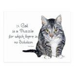Cat Wisdom - a Cat is a Puzzle Postcard