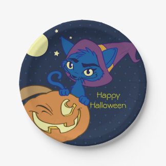 Cat Witch Halloween Night 7 Inch Paper Plate