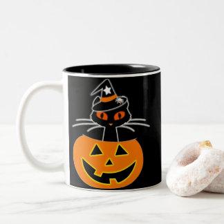 Cat Witch Halloween set Two-Tone Coffee Mug