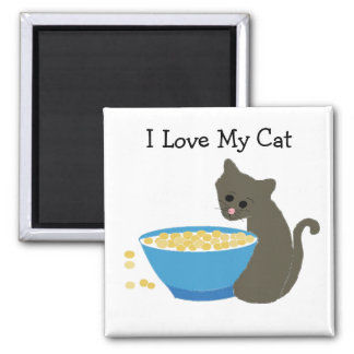 Cat with a Blue Food Dish Square Magnet