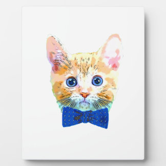 Cat with a bow tie plaque