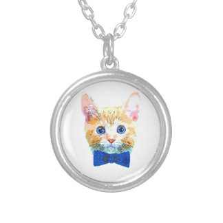 Cat with a bow tie silver plated necklace