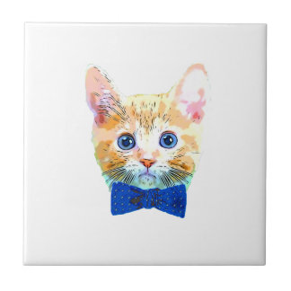 Cat with a bow tie small square tile