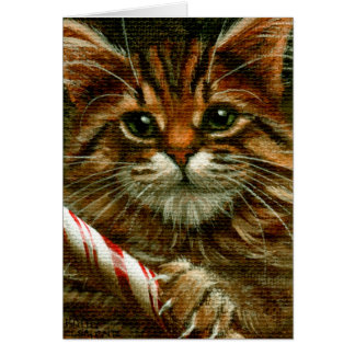 Cat with a Candy Cane Note Card