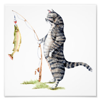 Cat with a Fish Photo Print