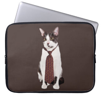Cat With A Tie Laptop Sleeve
