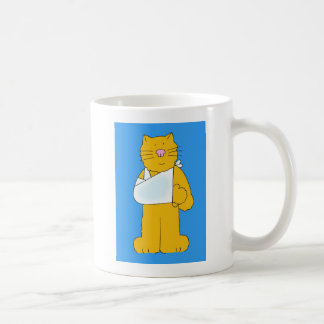 Cat with arm in a sling get well soon. mugs
