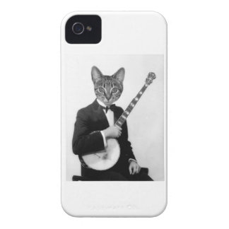 Cat with Banjo iPhone 4 Cases