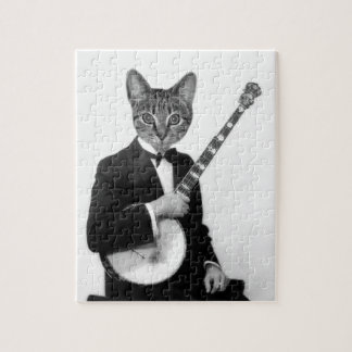 Cat with Banjo Jigsaw Puzzle