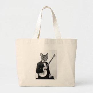 Cat with Banjo Large Tote Bag