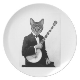 Cat with Banjo Plate
