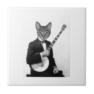 Cat with Banjo Small Square Tile