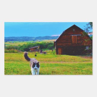 Cat with Barns Rectangular Sticker