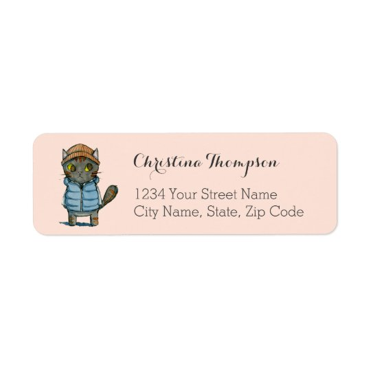 Cat with Beanie and Down Vest Watercolor Return Address Label