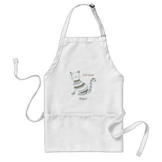 Cat with Blue and Brown Stripes Standard Apron