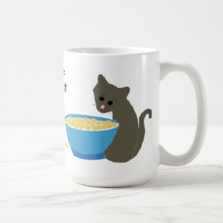 Cat with Blue Food Dish Mugs
