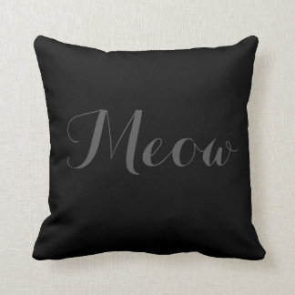 CAT WITH BOW MEOW Throw Pillow