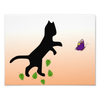 Cat With Butterfly Photo Print