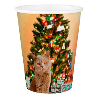 Cat with Decorated Christmas Tree and Gift Boxes Paper Cup