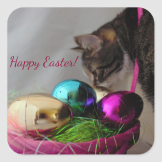Cat with Easter Basket Square Sticker