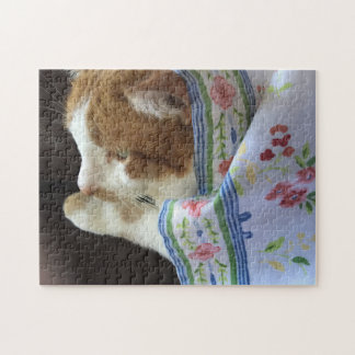 Cat with floral cloth jigsaw puzzle