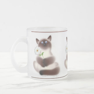 Cat with Flower 10 Oz Frosted Glass Coffee Mug