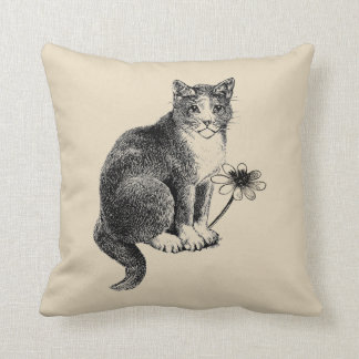Cat with Flower Vintage Style Throw Pillow
