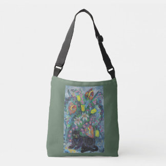 Cat with Flowers Crossbody Bag