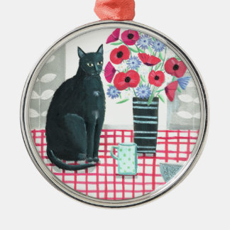 Cat with flowers metal ornament