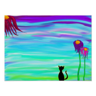 Cat with flowers poster